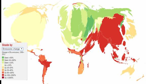 Cumulative emissions carbon map